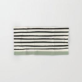 Sage Green x Stripes Hand & Bath Towel