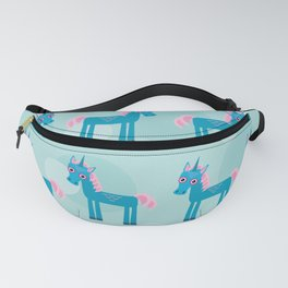 pattern with funny cute unicorn horse on a blue background Fanny Pack