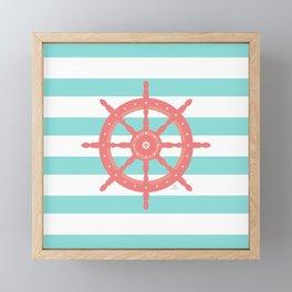 AFE Nautical Wheel  Coral & Seafoam Framed Mini Art Print