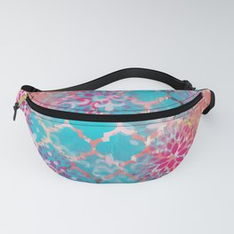Mixed Media Layered Patterns - Turquoise, Pink & Coral Fanny Pack
