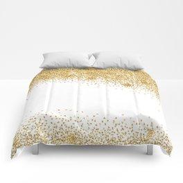 Sparkling golden glitter confetti effect Comforters