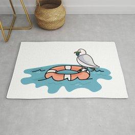Seagull fishing cartoon illustration motif set. Rug