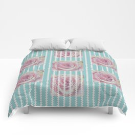 Pink Roses on Blue Comforters