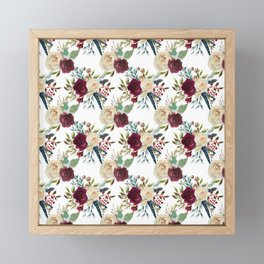 Burgundy ivory green watercolor boho floral pattern Framed Mini Art Print