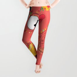 colorful Indian elephant and mouse Leggings