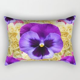 PURPLE PANSY FLOWERS & IVORY ROSES  PINK ART Rectangular Pillow