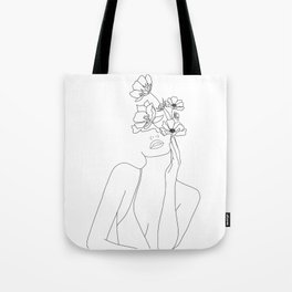 Minimal Line Art Woman with Flowers Tote Bag