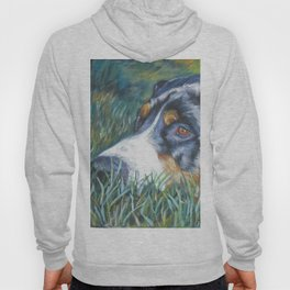 Greater Swiss Mountain Dog portrait art from an original painting by L.A.Shepard Hoody