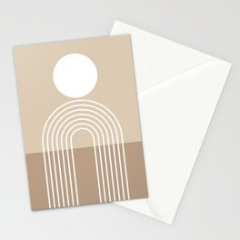Geometric Lines in Beige and Brown (Sun and Rainbow abstraction) Stationery Cards