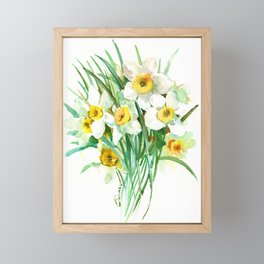 White Daffodils, spring flowers yellow green spring floral design Framed Mini Art Print