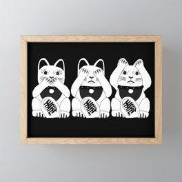 Three Smart Cats Framed Mini Art Print
