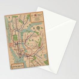 New York City Metro Subway System Map 1954 Stationery Cards