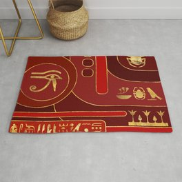 Egyptian Geometric Art Deco Red and Gold Rug