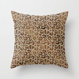 Brown Glitter Leopard Print Pattern Throw Pillow