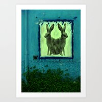 bunnies Art Prints featuring bunnies by sustici