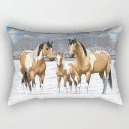 Buckskin Pinto Paint Quarter Horses In Snow Rectangular Pillow