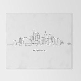 Philadelphia Skyline Drawing Throw Blanket