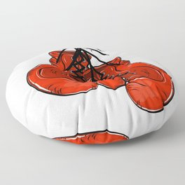 Red boxing gloves hanging on a nail Floor Pillow