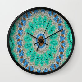 Lovely Healing Mandalas in Brilliant Colors: Blue, Brown, Teal, Silver and Gold Wall Clock