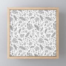 Tropical Leaves in Black and White Framed Mini Art Print
