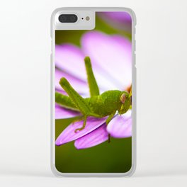 Grasshopper on flower Clear iPhone Case