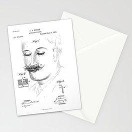 Mustache Holder Vintage Patent Blueprint Stationery Cards