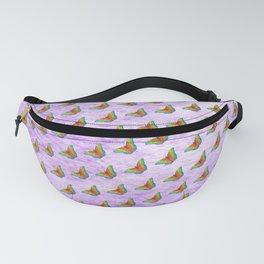 Rainbow butterflies on purple texture Fanny Pack