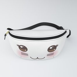 Kawaii funny cat muzzle with pink cheeks and big black eyes on white background Fanny Pack