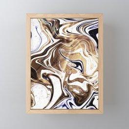 Metallic Gold Purple White Marble Swirl Framed Mini Art Print