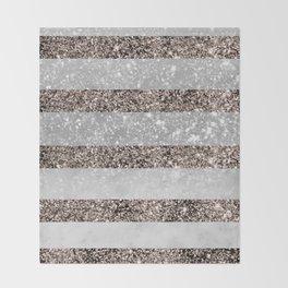 White Marble Rose Gold Glitter Stripe Glam #2 #minimal #decor #art #society6 Throw Blanket