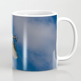 Egret In Flight With Branch Coffee Mug