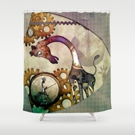 Funny giraffe, steampunk with clocks and gears Shower Curtain