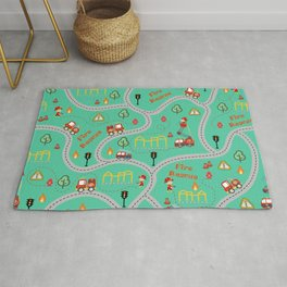 Fireman cute seamless kids pattern mint Rug
