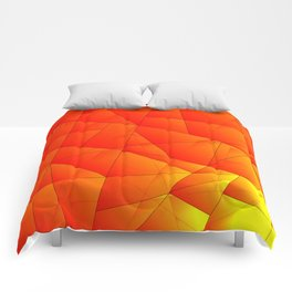 Bright yellow pattern of red triangles and irregularly shaped lines. Comforters