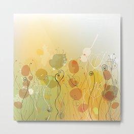 Floral Abstract Line Art Print Design Metal Print