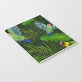 Lovebirds and tropical leafs Notebook
