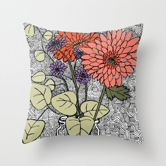 Sketched Flowers in Vase Throw Pillow