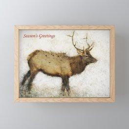 Season's Greetings Elk Card Framed Mini Art Print