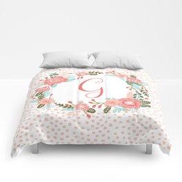 Monogram G - cute girls coral florals flower wreath, coral florals, baby girl, baby blanket Comforters