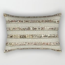 Bayeux Tapestry on cream - Full scenes and description Rectangular Pillow