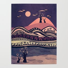 Psychedelic mountains (colour option) Poster