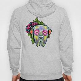 Mastiff in Grey - Day of the Dead Sugar Skull Dog Hoody