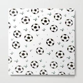 Fun grass and soccer ball sports illustration pattern Metal Print
