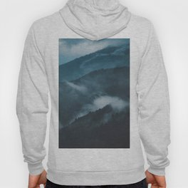 Layers of Mountain Valley Forest Fog Clouds Modern Landscape Hoody