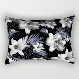 Tropical Flowers Palm Leaves Finesse #4 #tropical #decor #art #society6 Rectangular Pillow