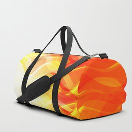 Theme of fire for the banner. Bright red and orange glare on a gentle background for a fabric or pos Duffle Bag