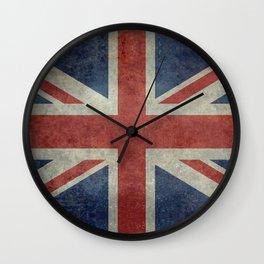 UK Flag, Dark grunge 3:5 scale Wall Clock