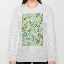 mediterranean summer lemon branches on turquoise Long Sleeve T-shirt