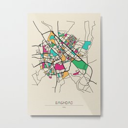 Colorful City Maps: Baghdad, Iraq Metal Print