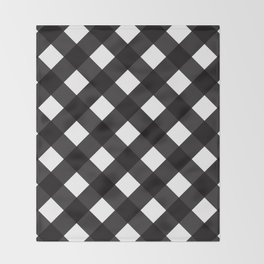 Contemporary Black & White Tilt Gingham Pattern - Mix & Match With Simplicty Of Life Throw Blanket